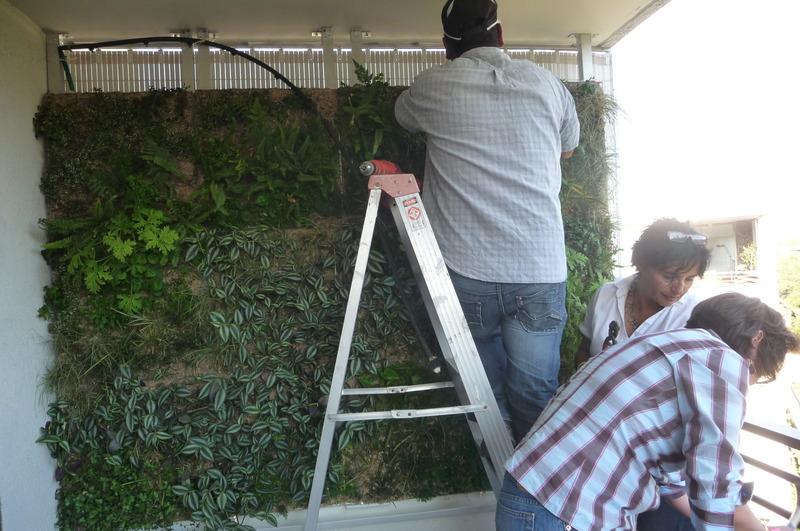 Reja con macetas de madera pared plantas jard n jardin for Reja para jardin vertical